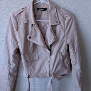 MISSGUIDED suede biker jacket - size 8
